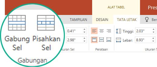 Di bawah alat tabel, pada tab tata letak, dalam grup gabungan surat, pilih gabungkan sel.
