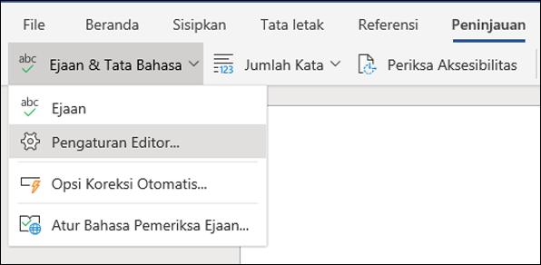 Cuplikan layar dari opsi pengaturan Editor di Word Online