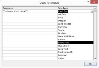Menempelkan pertanyaan ke kotak dialog Parameter Kueri