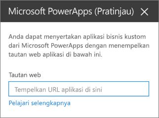 Panel properti Power Apps