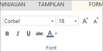 Grup font di PowerPoint Online