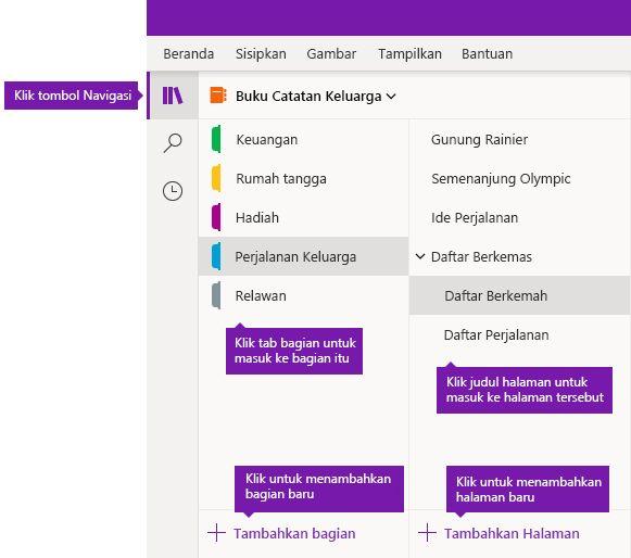Bagian dan halaman di OneNote untuk Windows 10