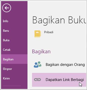 Cuplikan layar Dapatkan UI Link Berbagi di OneNote 2016.