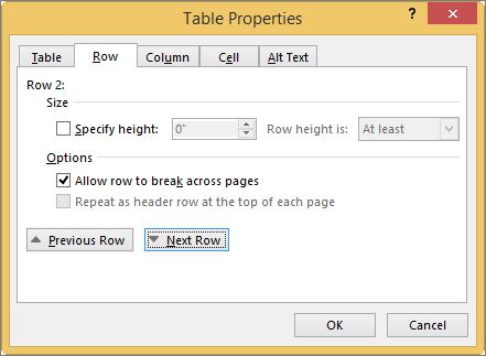 Baris tab dalam kotak dialog properti tabel