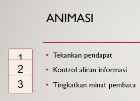 Nomor di sebelah kiri, di dalam kotak, menunjukkan adanya animasi pada slide.
