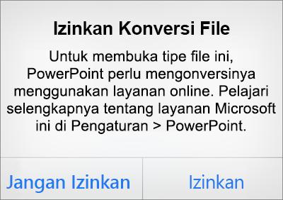 Menampilkan perintah privasi ODF di PowerPoint untuk iPhone