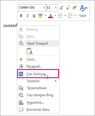 Gambar menu klik kanan memperlihatkan perintah Jelaskan