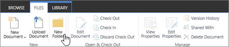 Gambar pita file SharePoint dengan Folder baru yang disorot.