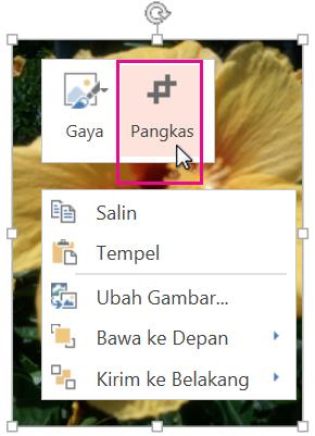 Klik kanan gambar, lalu klik Potong.