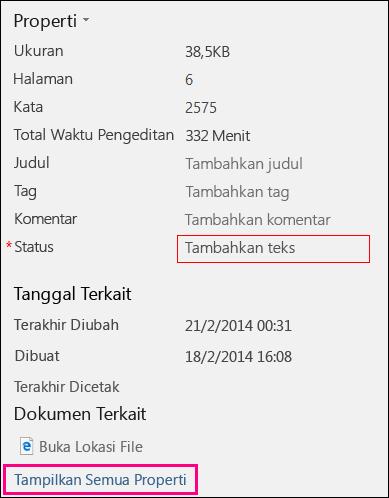 Area Properti dari tab Info dengan bidang Status menampilkan batas merah