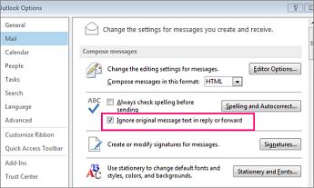 pengaturan opsi untuk mengabaikan pemeriksaan ejaan untuk teks asli dalam pesan balasan dan terusan