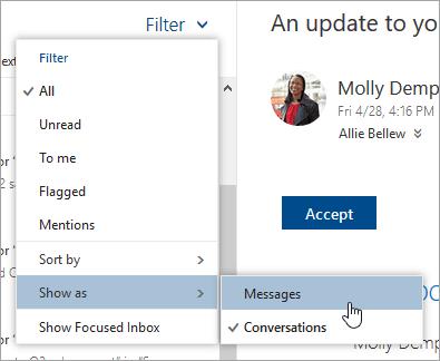 Cuplikan layar menu Filter dengan Perlihatkan sebagai dipilih