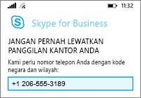 Masukkan nomor ponsel Anda dalam kasus Wi-Fi atau data tidak tersedia