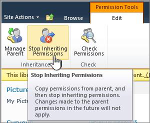 Klik berhenti pewarisan izin untuk menerapkan izin yang unik