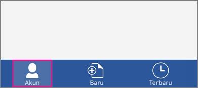 Memperlihatkan tombol akun di Word untuk iPhone