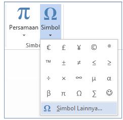 Di menu Simbol, klik Simbol Lainnya.