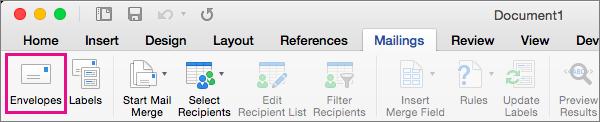 Pada tab Surat Menyurat, klik Amplop untuk memilih dan memasukkan alamat yang akan dicetak pada amplop.