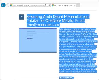 Cuplikan layar memperlihatkan bagian dari halaman web dipilih untuk disalin.