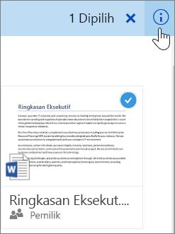 Cuplikan layar dari memilih item dan mengklik ikon informasi