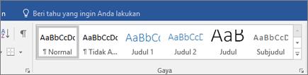 Gaya Word Office 365 pada tab Beranda