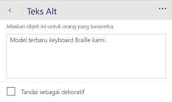 Dialog teks Alt Word Mobile