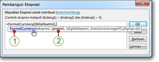 Tampilan Info Cepat untuk fungsi.