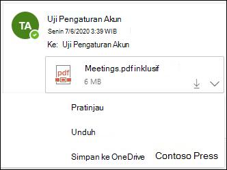 Menu turun bawah untuk menyimpan lampiran ke OneDrive.