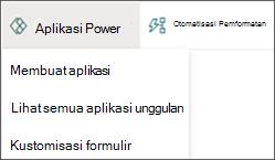 Gambar menu Power Apps dengan Buat aplikasi dipilih