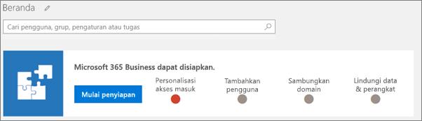 Cuplikan layar panduan penyiapan Rangkaian Awan Bisnis.
