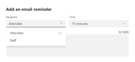 Menambahkan pengingat dalam pemesanan di aplikasi Pemesanan teams