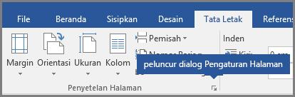 Peluncur dialog untuk penyiapan halaman di Word.