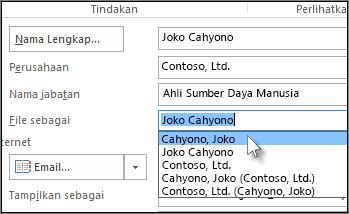 Klik kotak di sebelah kanan File sebagai, pilih format yang Anda inginkan.