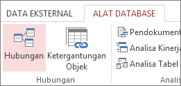 Perintah hubungan pada tab Alat Database
