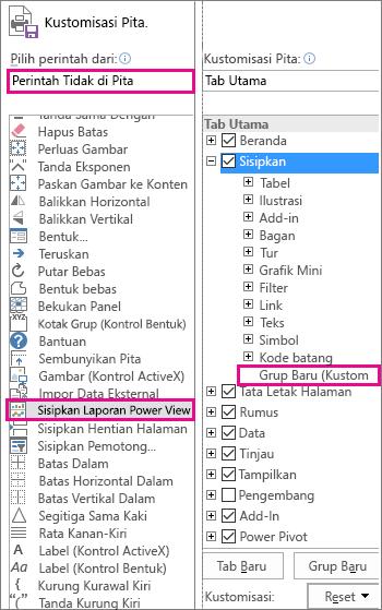 Mengkustomisasi kotak pita di Excel