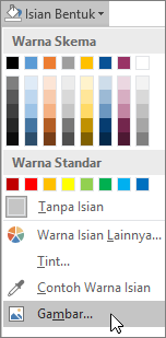 Cuplikan layar opsi Isian Gambar dari Isian Bentuk di tab Format di Publisher.