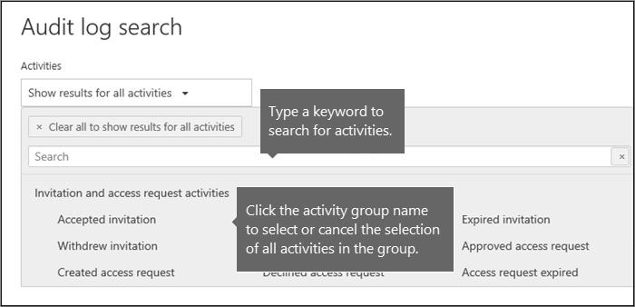 Klik nama grup aktivitas untuk memilih semua aktivitas