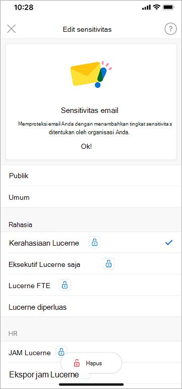 Cuplikan layar label sensitivitas di Outlook untuk iOS