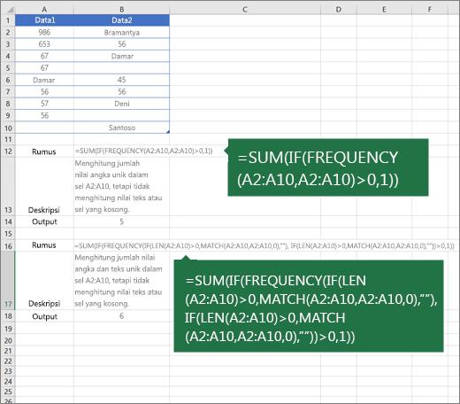 Contoh fungsi bertum tersedia untuk menghitung jumlah nilai unik di antara duplikat
