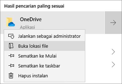 Cuplikan layar memperlihatkan menu klik kanan di Menu Mulai, dengan Buka Lokasi File dipilih.