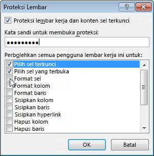 Kotak dialog Proteksi Lembar