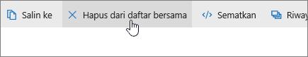 Cuplikan layar memperlihatkan tombol Hapus dari daftar bersama di OneDrive.com.