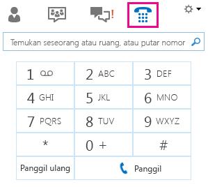 Cuplikan layar tombol angka untuk menghubungi kontak