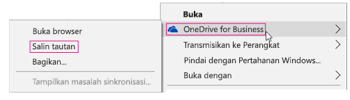 OneDrive for Business, Salin Link
