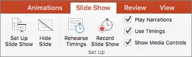 Cuplikan layar memperlihatkan opsi tab peragaan Slide Siapkan peragaan Slide, Sembunyikan Slide, latih pengaturan waktu, Rekam peragaan Slide, dan kotak centang untuk memutar narasi, gunakan pengaturan waktu, dan Perlihatkan kontrol Media.