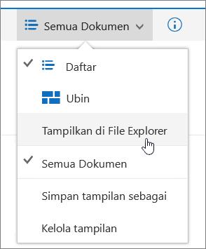Buka dengan Explorer yang disorot pada menu tampilan di SharePoint Online