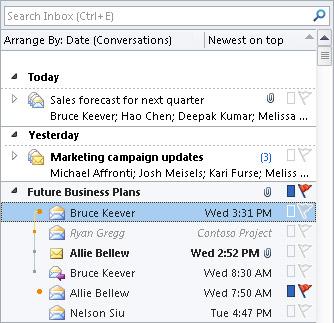 Percakapan dalam daftar pesan Kotak Masuk