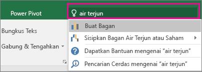 Kotak Beri tahu saya dengan teks dan hasil air terjun di Excel 2016 untuk Windows