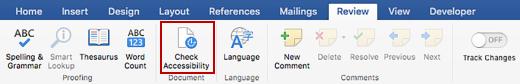 Cuplikan layar pita Peninjauan dengan ikon Periksa Aksesibilitas