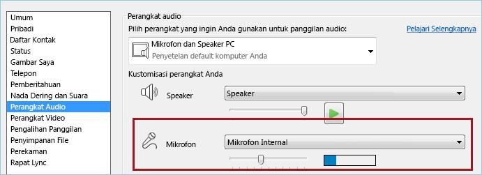 Cuplikan layar mikrofon memeriksa audio Lync