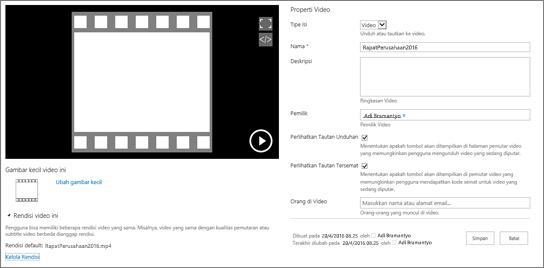 Halaman properti Video